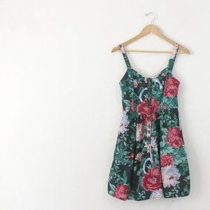 Vintage | 80s Black Floral Sundress Mini Dress